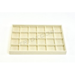 TRAY OF JEWELRY, LINEN BEIGE, 24 COMPARTMENTS 35X24X3 CM