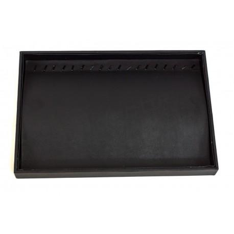 Bandeja joyería, polipiel negra. 35x24x3 cm, tridecor
