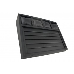 TRAY DISPLAY STAND, IMITATION LEATHER BLACK