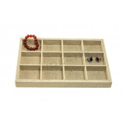 TRAY JEWELRY, LINEN THICK, 12 COMPARTMENTS 3X24X30 CM