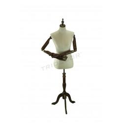 Bust de dona amb roba de tela braços articulats
