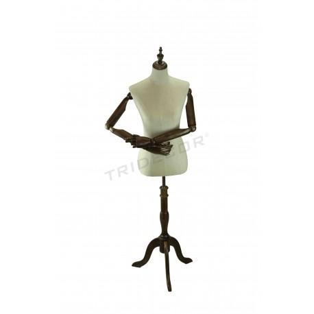 Busto mulher tela de linho braços articulados