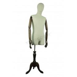 Busto de homem tela de linho pé de madeira