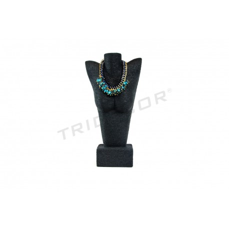 BUST NARROW FOR JEWELRY, COATED IN BLACK ROPE