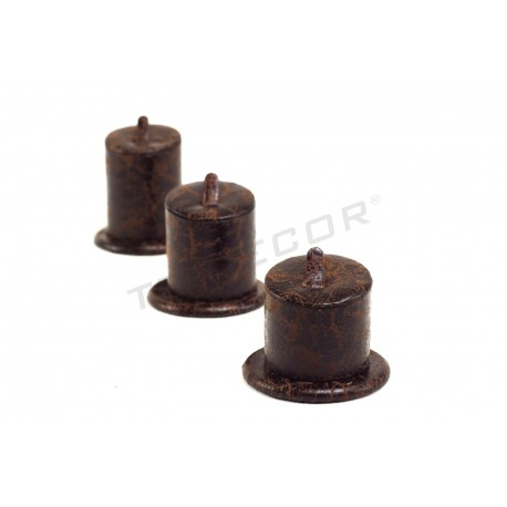 Expositor anillos, polipiel marrón, 3 alturas, tridecor