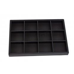Caixa de jóias com 12 compartimentos, polipele negra, tridecor