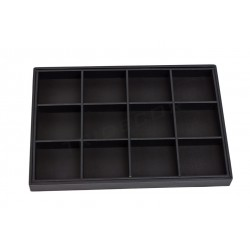 TRAY FOR JEWELRY WITH 12 COMPARTMENTS, WITH BLACK SYNTHETIC LEATHER