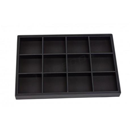 Bandexa de xoias con 12 compartimentos, con negro de coiro sintético, tridecor