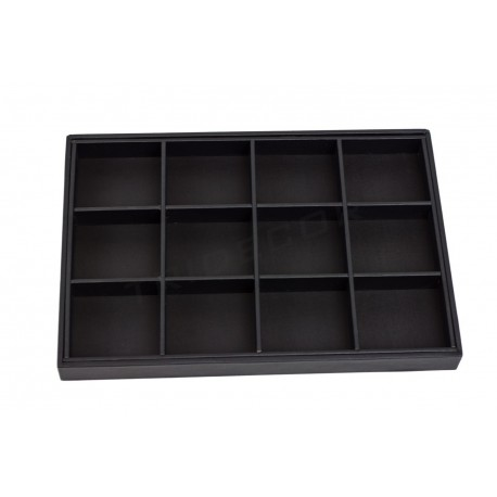 Tray jewelry with 12 compartments, with black synthetic leather, tridecor