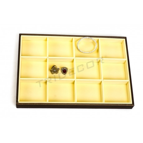 TRAY FOR JEWELRY 12 COMPARTMENTS, IMITATION LEATHER, VANILLA/CHOCOLATE