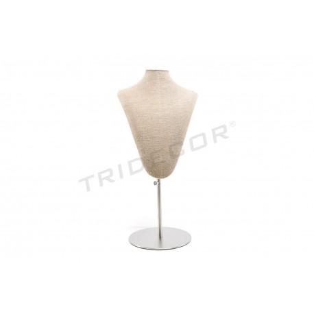 Expositor collares, lino grueso, base de acero regulable, tridecor