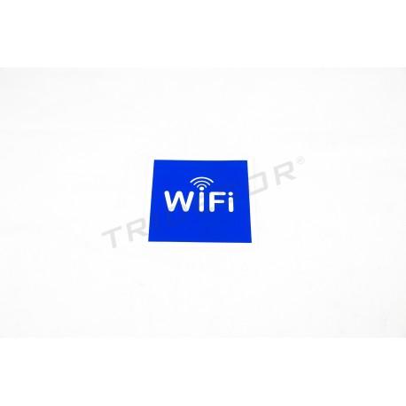 Cartel señal wifi 11x11 cm azul