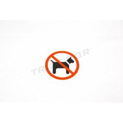 Cartel prohibido perros 11x11cm