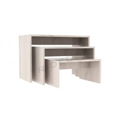Mesa expositora roble w, tridecor