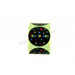Etiqueta adhesiva, Felicidades. Varios colores. 250 uds. tridecor