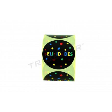 Adhesive label, Congratulations. Various colors. 250 pcs. tridecor