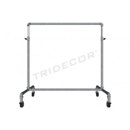Cabideiro de aço galvanizado cinza regulável com freio