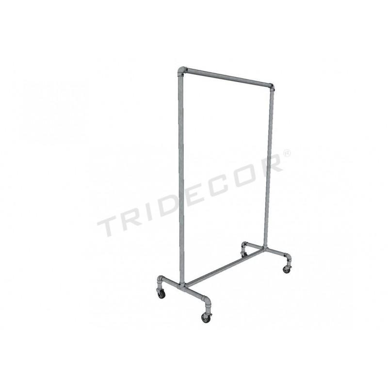 Perchero acero zincado gris fijo con freno 120x110x47 cm - Percheros de acero ...