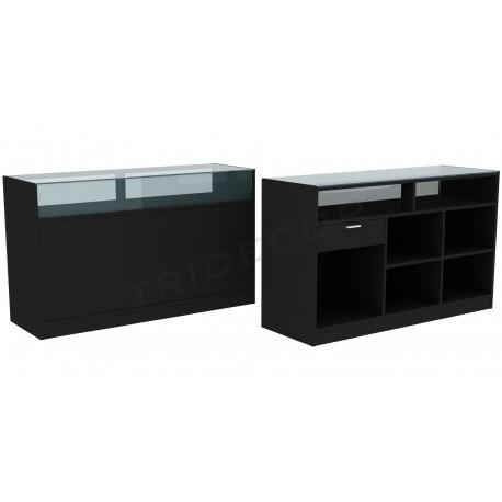 Desk in black color, 180 cm, tridecor