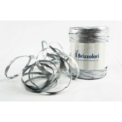 Ribbon of raffia faux metallic silver 200 metres