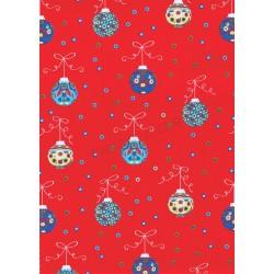 Papel de presente vermelho com estampa de bolas de natal 62cm