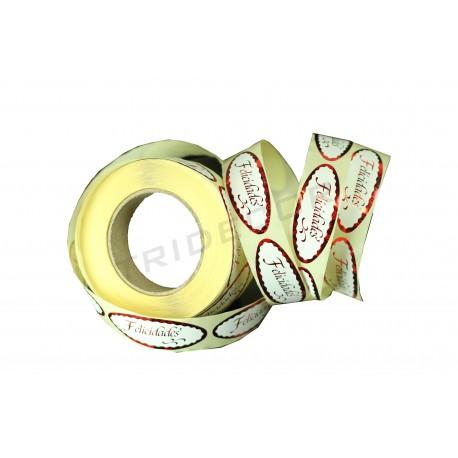 Etiqueta adhesiva para regalos, Felicidades. Rojo metalizado. 500 uds, tridecor