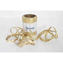 cinta rafia oro con estrellas blancas