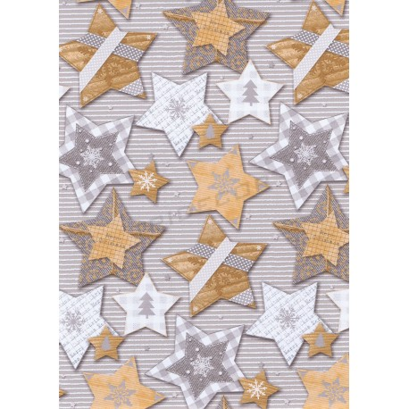 Gift paper grey patterned stars christmas 62cm