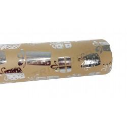 Bobina de papel kraft com estampa prata 70cm 50 metros