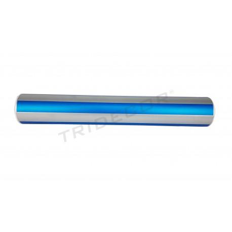 Regal de paper d'embolicar amb amples franges de plata/blau 62cm