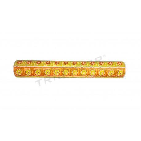 Paper de regal flors de color groc/taronja-62cm