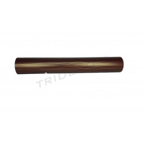 Papel de presente com linhas douradas fundo chocolate 62cm