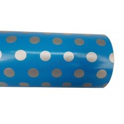 Papel de regalo puntos plateados fondo celeste, 31cm, tridecor
