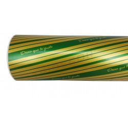 Papel de presente quero que você se goste verde/dourado 31cm