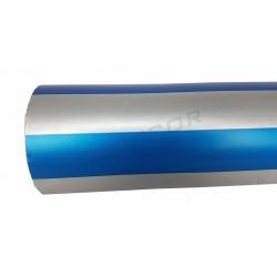 Regal de paper d'embolicar amb amples franges de plata, blau i 31cm