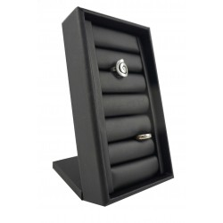 Exhibitor jewelry for rings, with black synthetic leather, tridecor