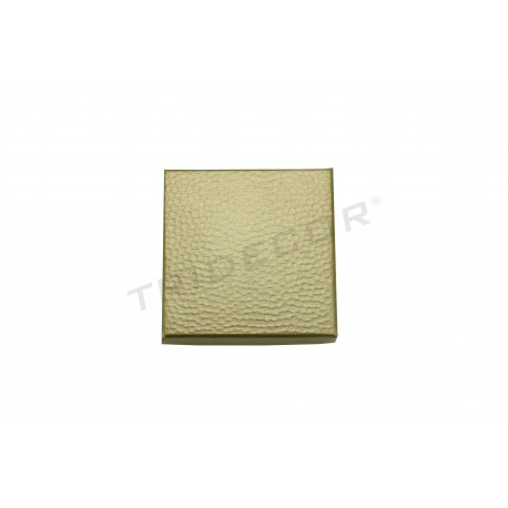 010884 Caixa para jóias ouro material rugoso 6x6x2cm 24 unidades. Tridecor