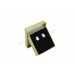 010884 Caja para joyería oro material rugoso 6x6x2cm 24 unidades. Tridecor