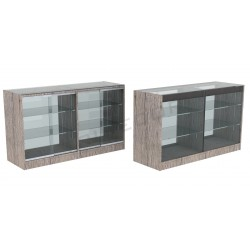 Counter display case, oak color Or 150cm