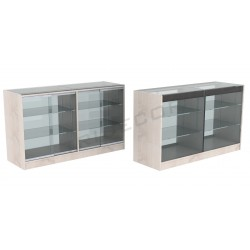Counter display case, oak color W 150x90x50cm