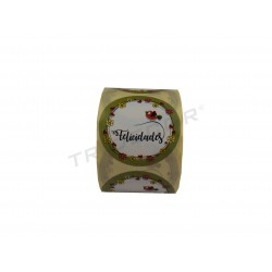 Adhesive label, Congratulations with motive of birds., tridecor