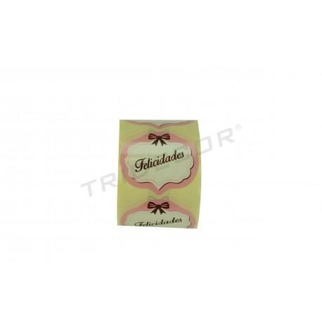 Etiqueta adhesiva, Felicidades, color blanco y rosa. 250 uds. tridecor