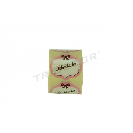 Itsasgarria etiketa, Zorionak, zuri eta arrosa kolorea. 250 pcs. tridecor