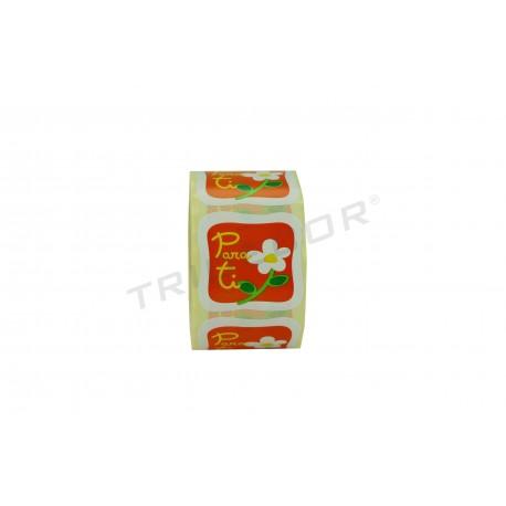 Etiqueta adhesiva, Para ti. Fondo naranja. 500 uds. tridecor