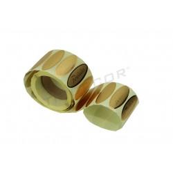 Etiquetas adhesiva, Felicidades, color oro. 500 unds. tridecor