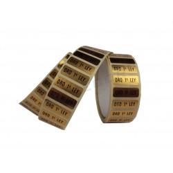 Etiqueta adhesiva, Oro 1ª Ley. 500 uds., tridecor