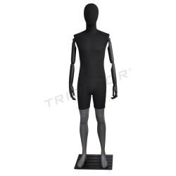 Mannequin homme, gris mat avec tissu noir, tridecor