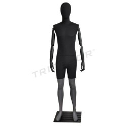 Mannequin man, matte grey with black cloth, tridecor