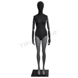 Manequim feminino cinza mate, tecido cor preto, tridecor