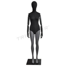 Maniquí mujer gris mate, tela color negro, tridecor